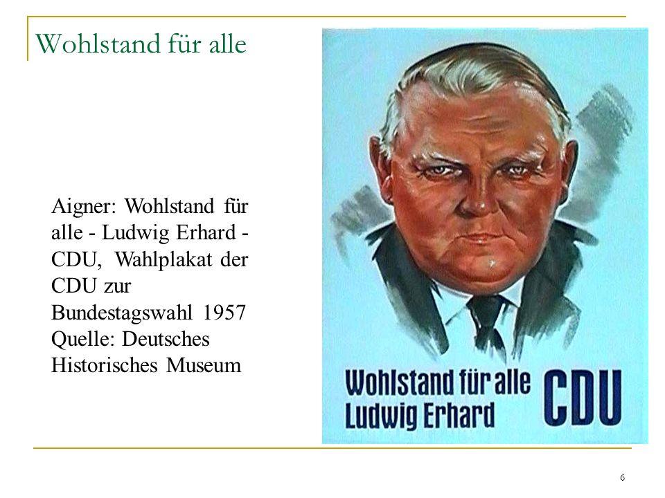 6 Wohlstand für alle Aigner: Wohlstand für alle - Ludwig Erhard - CDU, Wahlplakat der CDU zur Bundestagswahl 1957 Quelle: Deutsches Historisches Museu