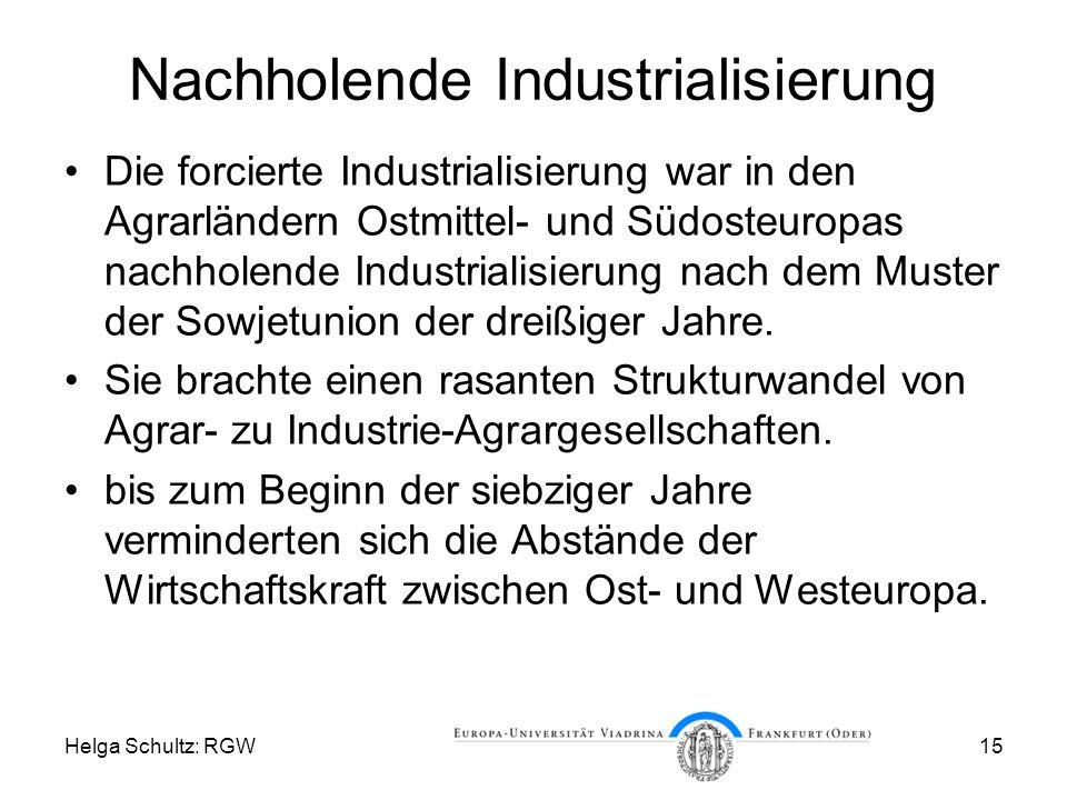 Helga Schultz: RGW15 Nachholende Industrialisierung Die forcierte Industrialisierung war in den Agrarländern Ostmittel- und Südosteuropas nachholende Industrialisierung nach dem Muster der Sowjetunion der dreißiger Jahre.