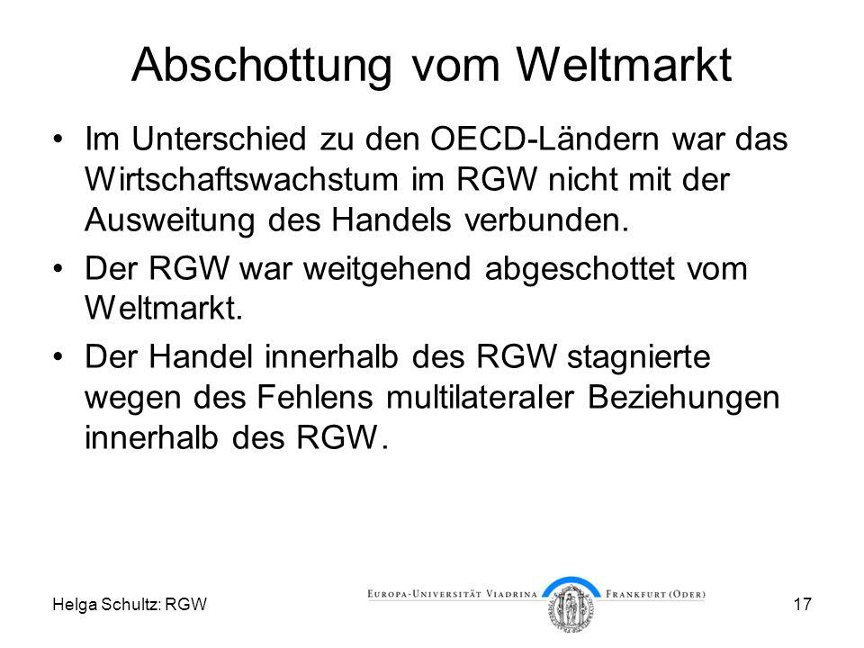 Helga Schultz: RGW17 Abschottung vom Weltmarkt Im Unterschied zu den OECD-Ländern war das Wirtschaftswachstum im RGW nicht mit der Ausweitung des Handels verbunden.