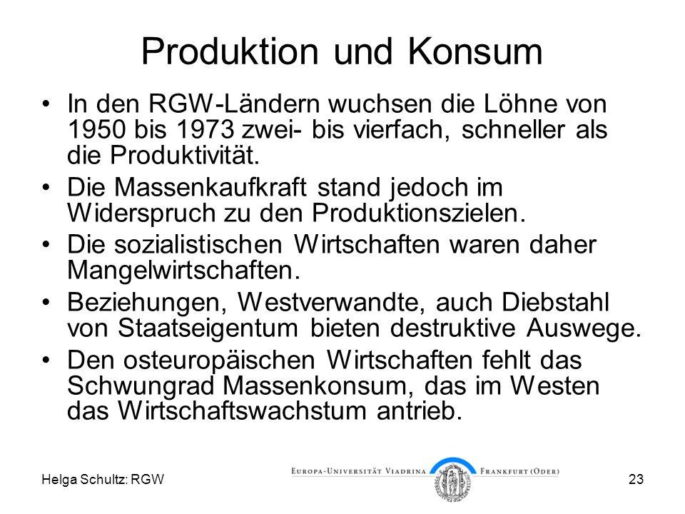 Helga Schultz: RGW23 Produktion und Konsum In den RGW-Ländern wuchsen die Löhne von 1950 bis 1973 zwei- bis vierfach, schneller als die Produktivität.