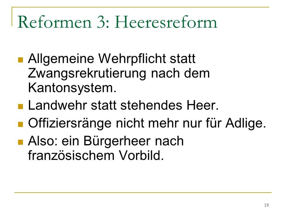 Reformen 3: Heeresreform Allgemeine Wehrpflicht statt Zwangsrekrutierung nach dem Kantonsystem. Landwehr statt stehendes Heer. Offiziersränge nicht me