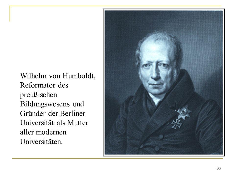 Wilhelm von Humboldt, Reformator des preußischen Bildungswesens und Gründer der Berliner Universität als Mutter aller modernen Universitäten. 22