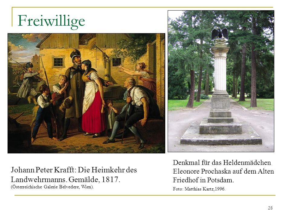 Freiwillige Denkmal für das Heldenmädchen Eleonore Prochaska auf dem Alten Friedhof in Potsdam. Foto: Matthias Kartz,1996. Johann Peter Krafft: Die He