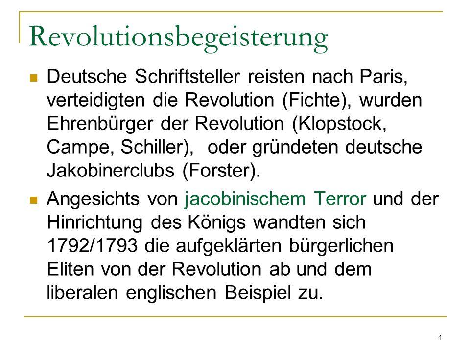 Revolutionsbegeisterung Deutsche Schriftsteller reisten nach Paris, verteidigten die Revolution (Fichte), wurden Ehrenbürger der Revolution (Klopstock
