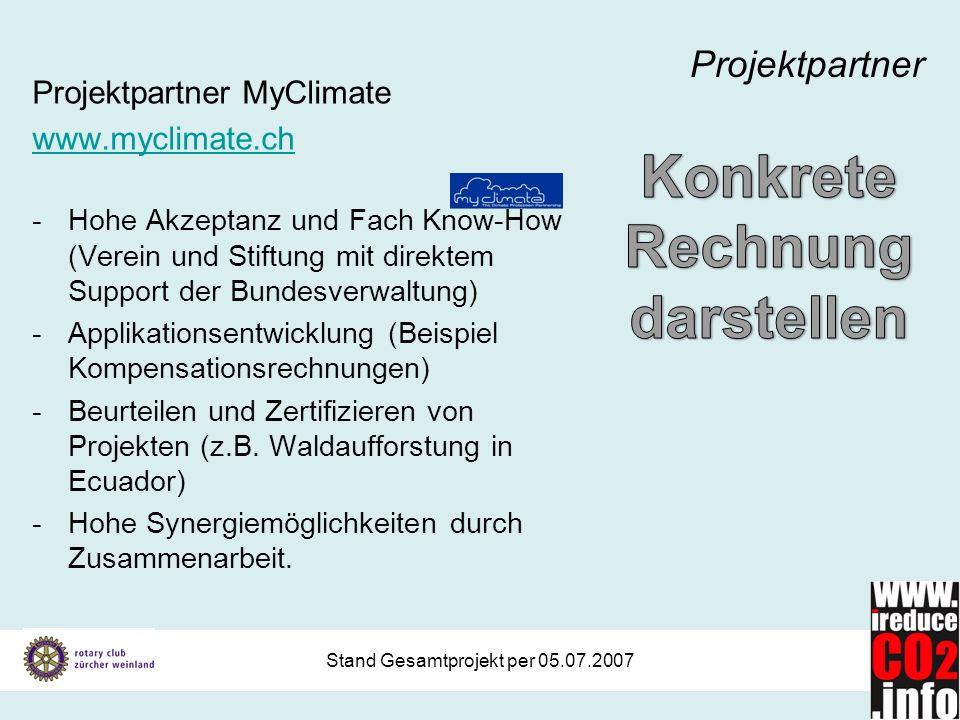 Stand Gesamtprojekt per 05.07.2007 Projektpartner Projektpartner MyClimate www.myclimate.ch -Hohe Akzeptanz und Fach Know-How (Verein und Stiftung mit