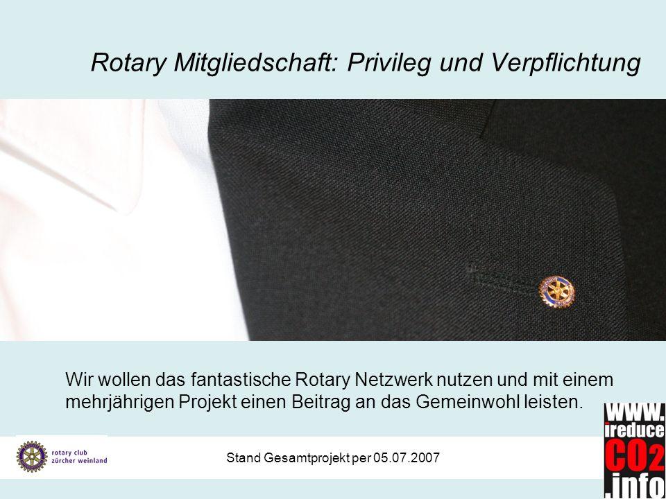 Stand Gesamtprojekt per 05.07.2007 Rotary Mitgliedschaft: Privileg und Verpflichtung Wir wollen das fantastische Rotary Netzwerk nutzen und mit einem