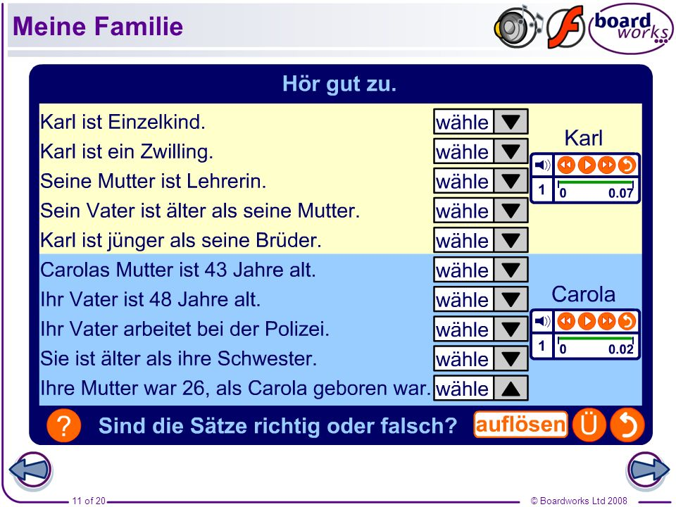© Boardworks Ltd 200811 of 20 Meine Familie