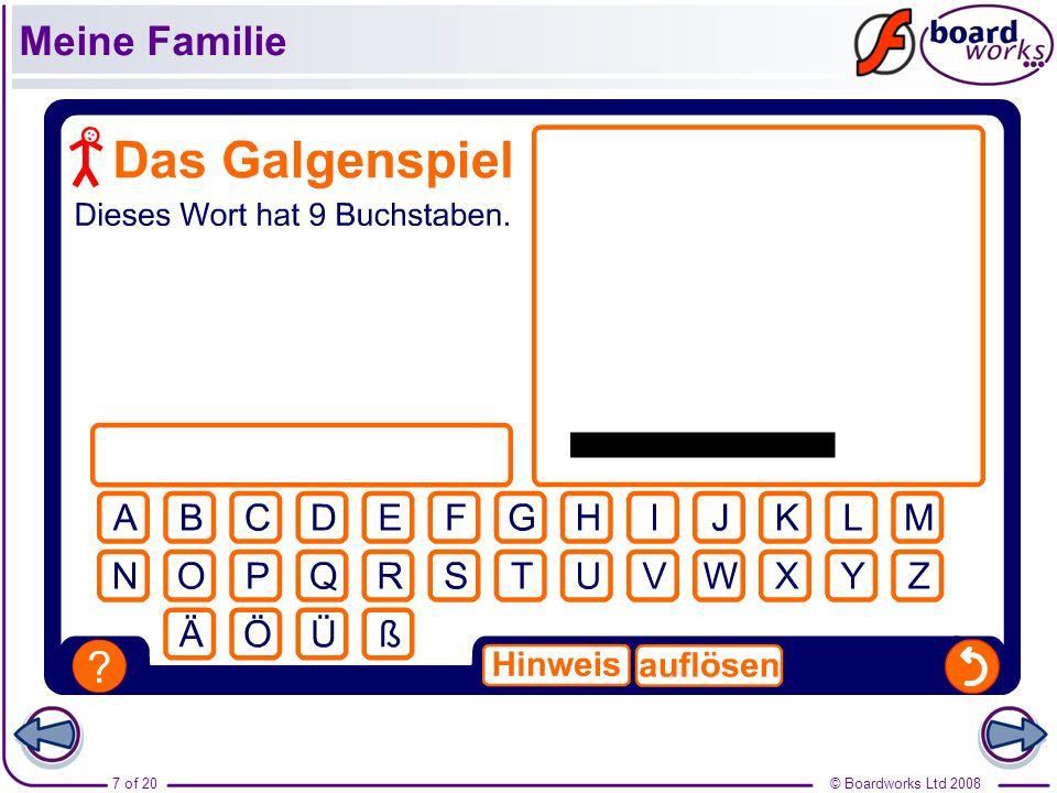 © Boardworks Ltd 20087 of 20 Meine Familie