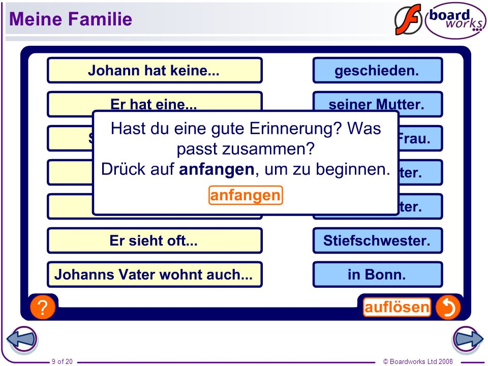 © Boardworks Ltd 20089 of 20 Meine Familie