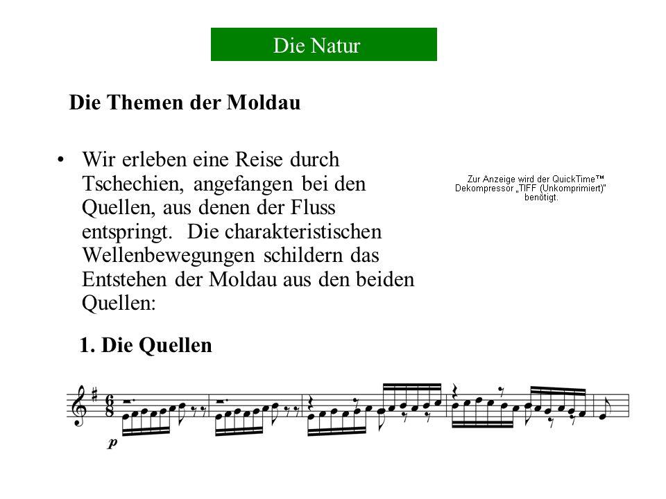 Smetana erzählt in einem programmsinfonischen Stil, in den Polkas und liedartige Weisen (Die Moldau, Aus Böhmens Hain und Flur) und der altehrwürdige Hussitenchoral (Tabor) verwoben sind.