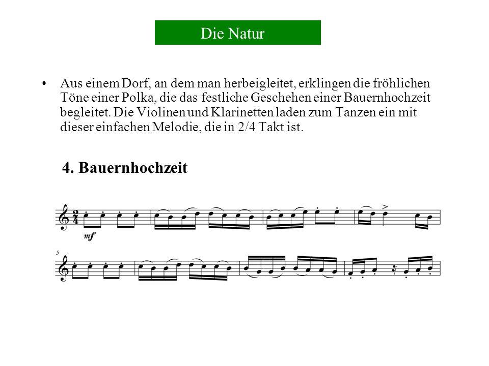 Hörner blasen mit Naturtönen im 6/8 Takt.