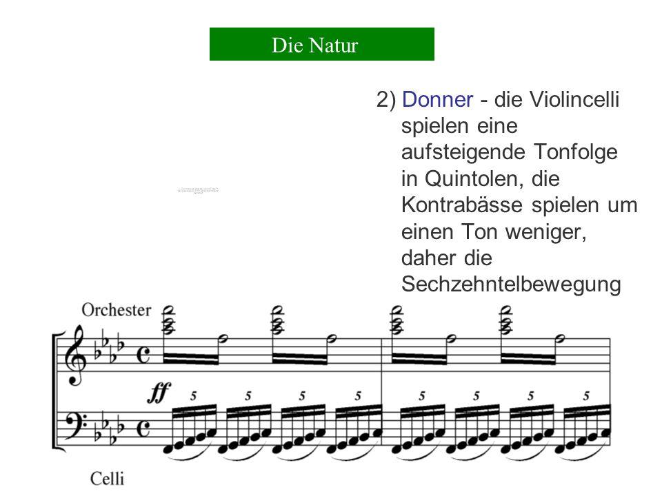 Beethoven weist diesen Begriffen einzelne Instrumente zu, wie 1) Regen -eine Staccatobewegung der Violinen in einer Achtelbewegung Die Natur