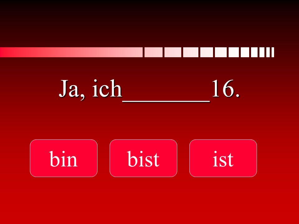Ja, ich_______16. binbistist