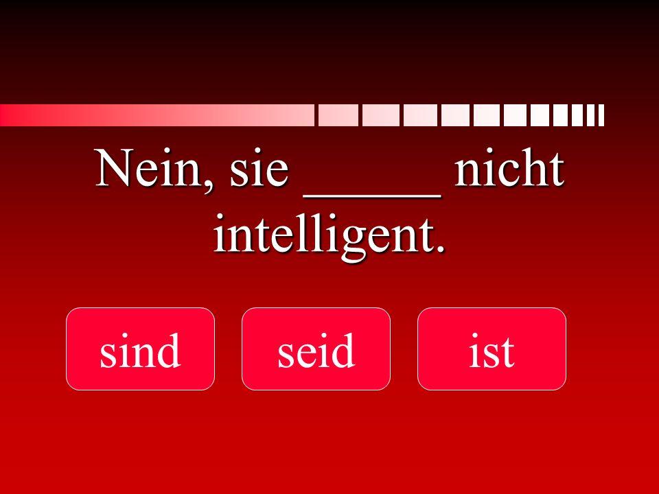 Nein, sie _____ nicht intelligent. sindseidist