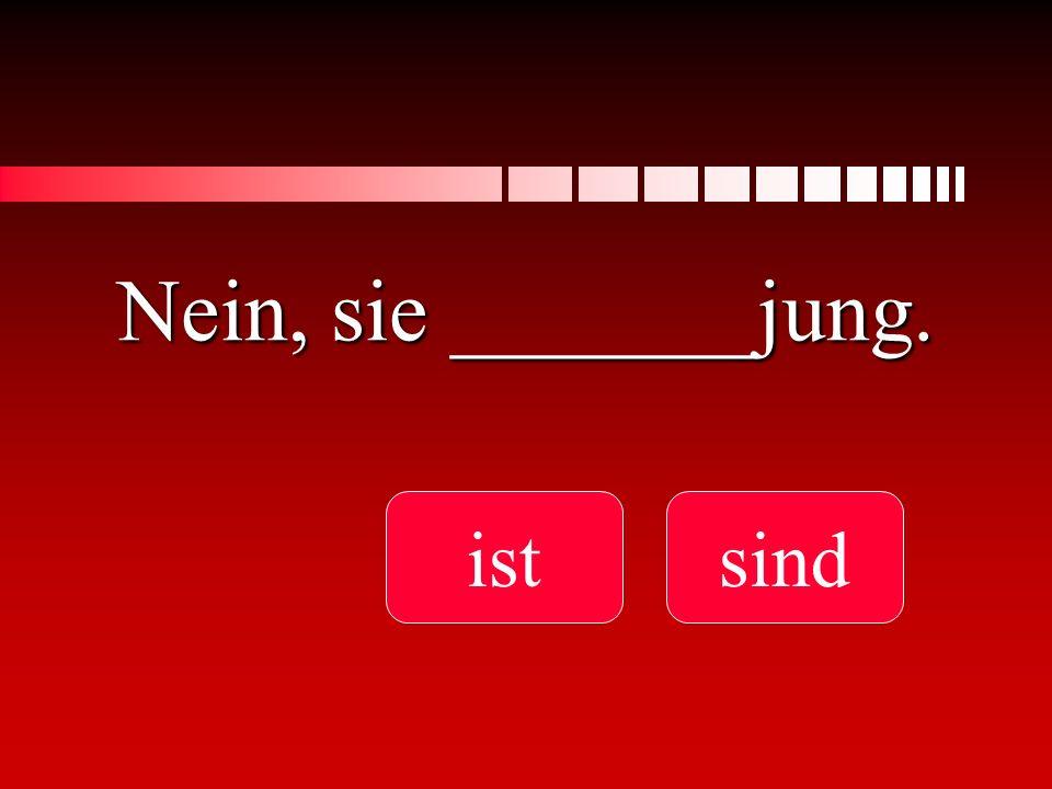 Nein, sie _______jung. istsind