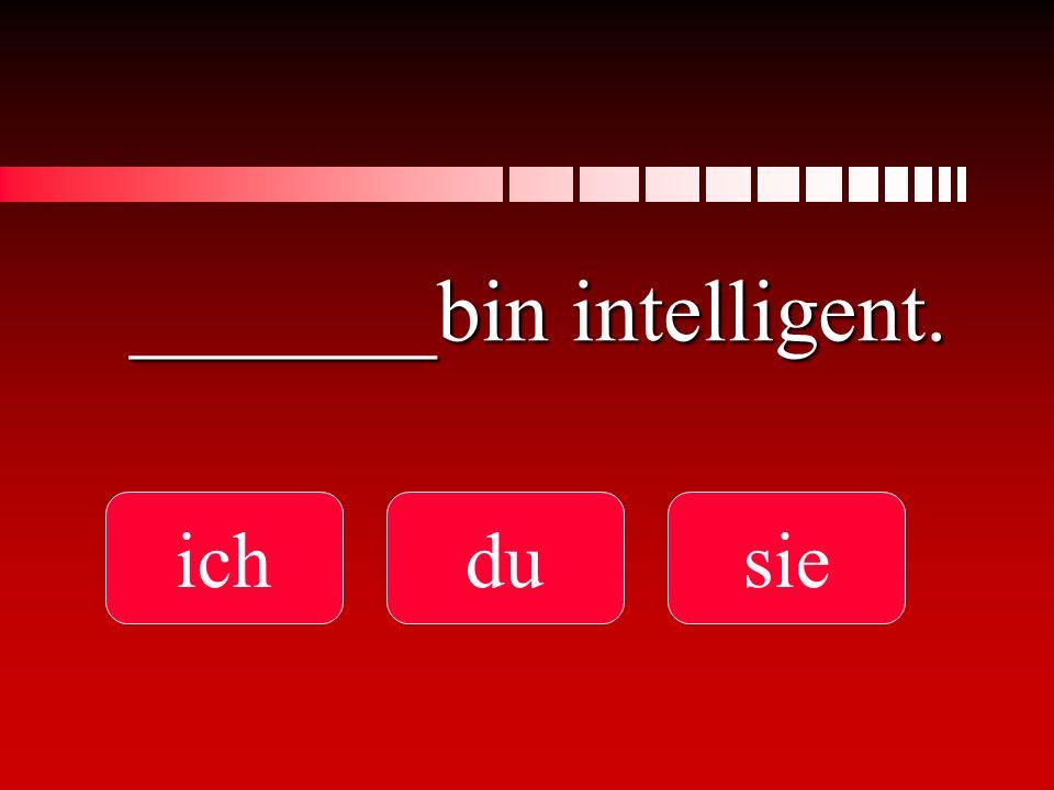 Er _______ intelligent. ist binbist