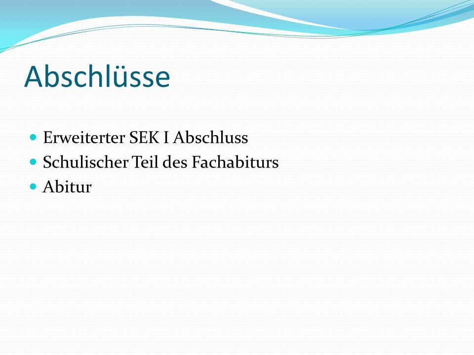 Abschlüsse Erweiterter SEK I Abschluss Schulischer Teil des Fachabiturs Abitur