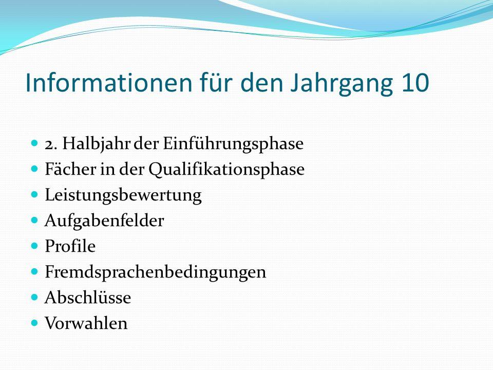 Informationen für den Jahrgang 10 2. Halbjahr der Einführungsphase Fächer in der Qualifikationsphase Leistungsbewertung Aufgabenfelder Profile Fremdsp