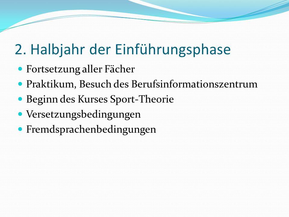 2. Halbjahr der Einführungsphase Fortsetzung aller Fächer Praktikum, Besuch des Berufsinformationszentrum Beginn des Kurses Sport-Theorie Versetzungsb