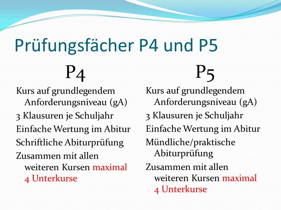 Prüfungsfächer P4 und P5 P4 Kurs auf grundlegendem Anforderungsniveau (gA) 3 Klausuren je Schuljahr Einfache Wertung im Abitur Schriftliche Abiturprüf