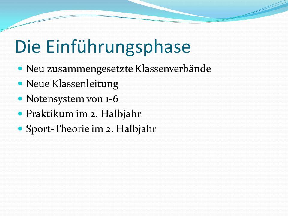 Die Einführungsphase Neu zusammengesetzte Klassenverbände Neue Klassenleitung Notensystem von 1-6 Praktikum im 2.