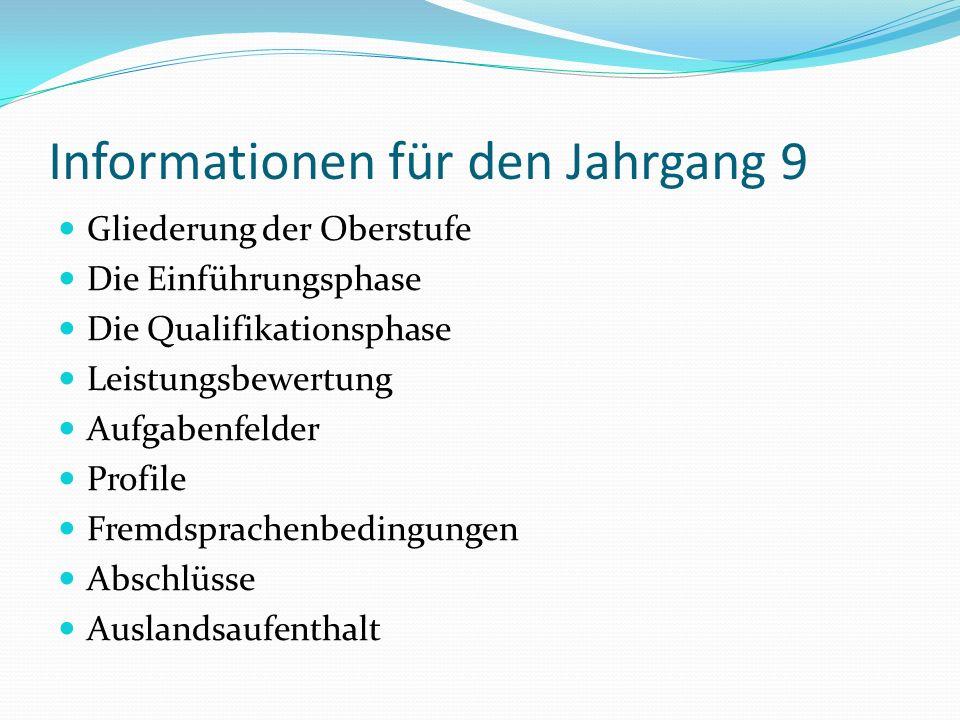 Informationen für den Jahrgang 9 Gliederung der Oberstufe Die Einführungsphase Die Qualifikationsphase Leistungsbewertung Aufgabenfelder Profile Fremdsprachenbedingungen Abschlüsse Auslandsaufenthalt