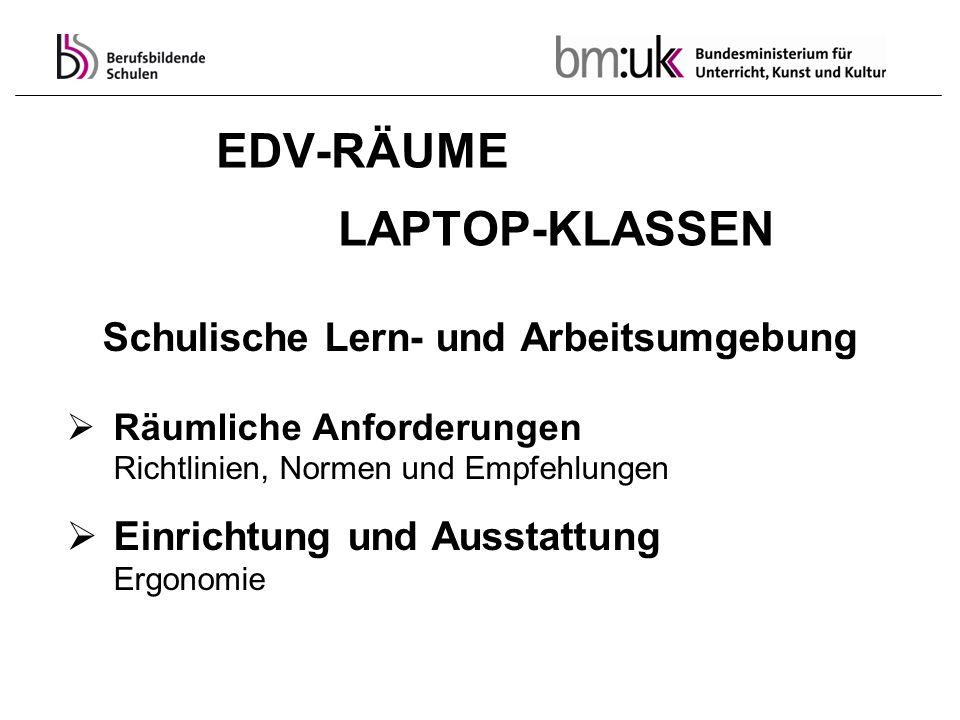 EDV-RÄUME LAPTOP-KLASSEN Schulische Lern- und Arbeitsumgebung Räumliche Anforderungen Richtlinien, Normen und Empfehlungen Einrichtung und Ausstattung