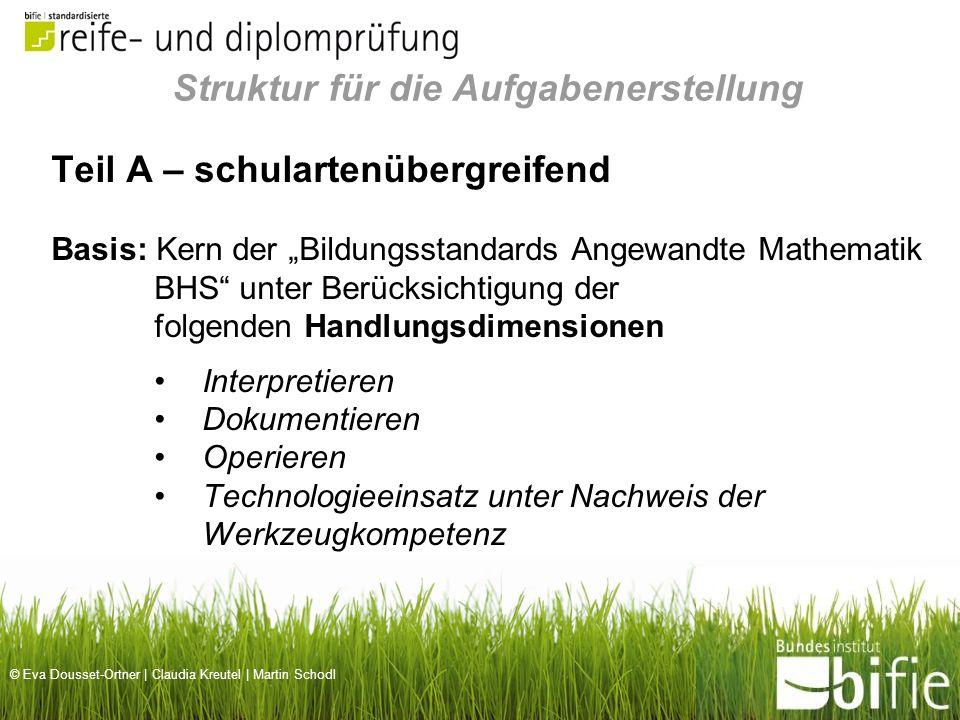 © Eva Dousset-Ortner | Claudia Kreutel | Martin Schodl Teil B – schulartenspezifisch Nachweis spezieller mathematischer Kompetenzen, die für das Berufsfeld wesentlich sind.