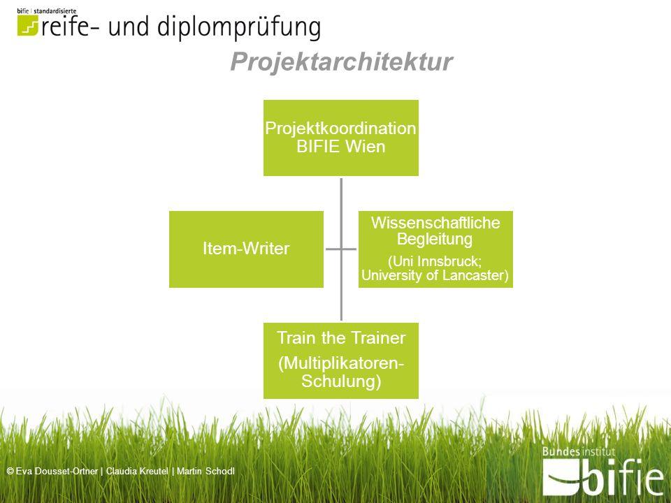 © Eva Dousset-Ortner | Claudia Kreutel | Martin Schodl Projektkoordination BIFIE Wien Train the Trainer (Multiplikatoren- Schulung) Item-Writer Wissen