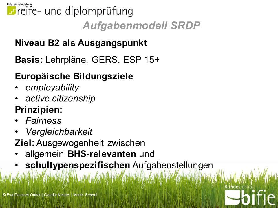 © Eva Dousset-Ortner | Claudia Kreutel | Martin Schodl Niveau B2 als Ausgangspunkt Basis: Lehrpläne, GERS, ESP 15+ Europäische Bildungsziele employabi