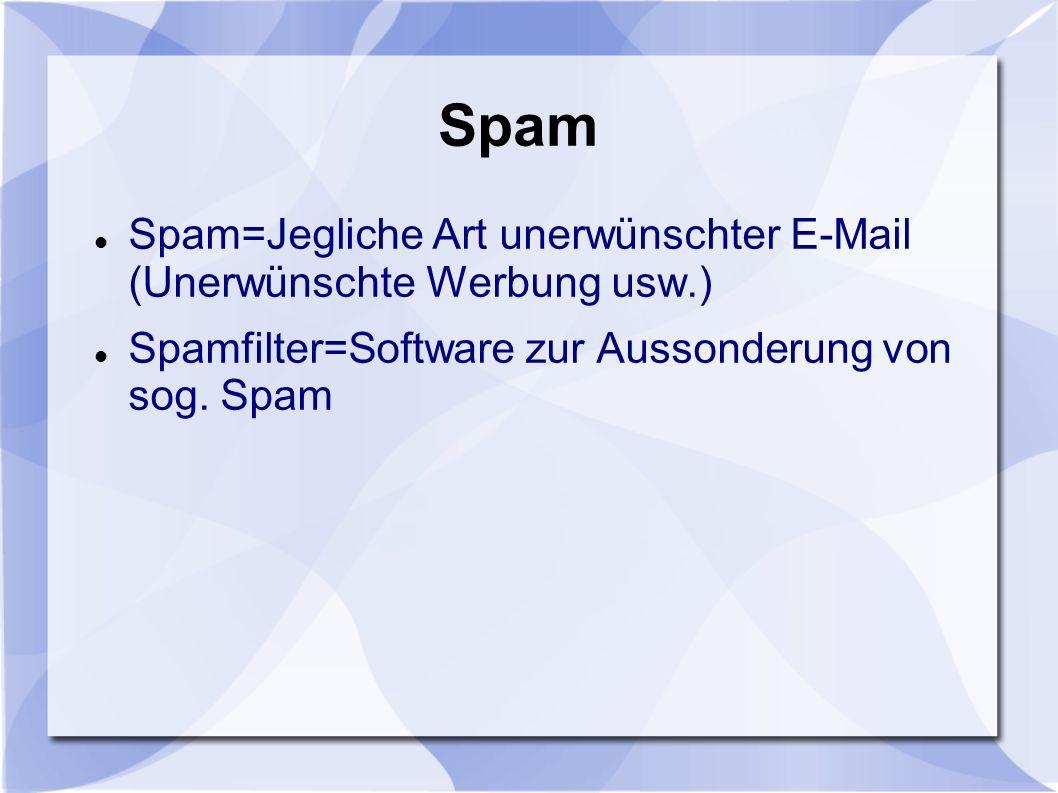 Spam Spam=Jegliche Art unerwünschter E-Mail (Unerwünschte Werbung usw.) Spamfilter=Software zur Aussonderung von sog. Spam