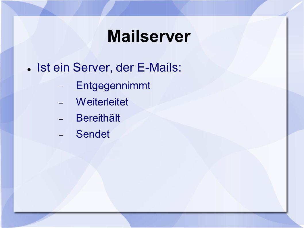 Mailserver Ist ein Server, der E-Mails: Entgegennimmt Weiterleitet Bereithält Sendet