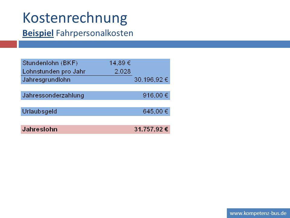 www.kompetenz-bus.de Kostenrechnung Beispiel Fahrpersonalkosten