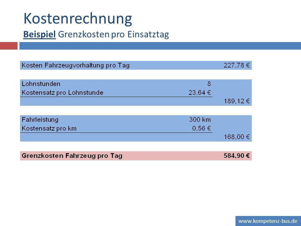 www.kompetenz-bus.de Kostenrechnung Beispiel Grenzkosten pro Einsatztag