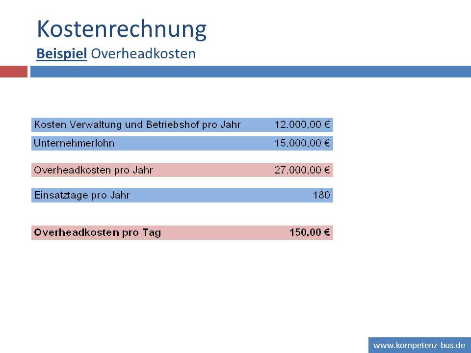 www.kompetenz-bus.de Kostenrechnung Beispiel Overheadkosten