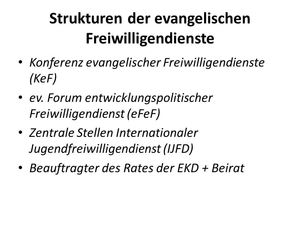 Strukturen der evangelischen Freiwilligendienste Konferenz evangelischer Freiwilligendienste (KeF) ev. Forum entwicklungspolitischer Freiwilligendiens