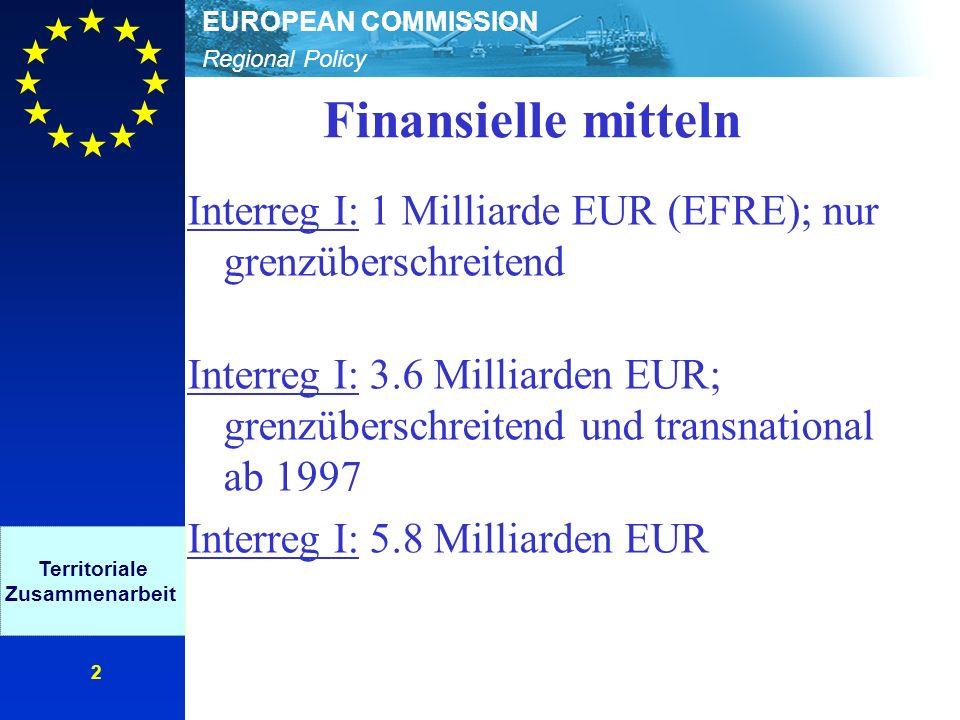 Regional Policy EUROPEAN COMMISSION 2 Finansielle mitteln Interreg I: 1 Milliarde EUR (EFRE); nur grenzüberschreitend Interreg I: 3.6 Milliarden EUR; grenzüberschreitend und transnational ab 1997 Interreg I: 5.8 Milliarden EUR Territoriale Zusammenarbeit