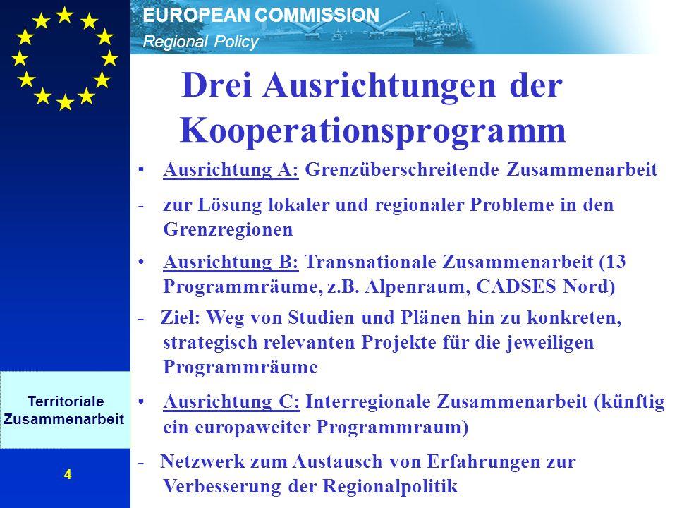 Regional Policy EUROPEAN COMMISSION 5 Finanzielle Ausstattung INTERREG 2000-2006 Insgesamt: 4,9 Mrd.