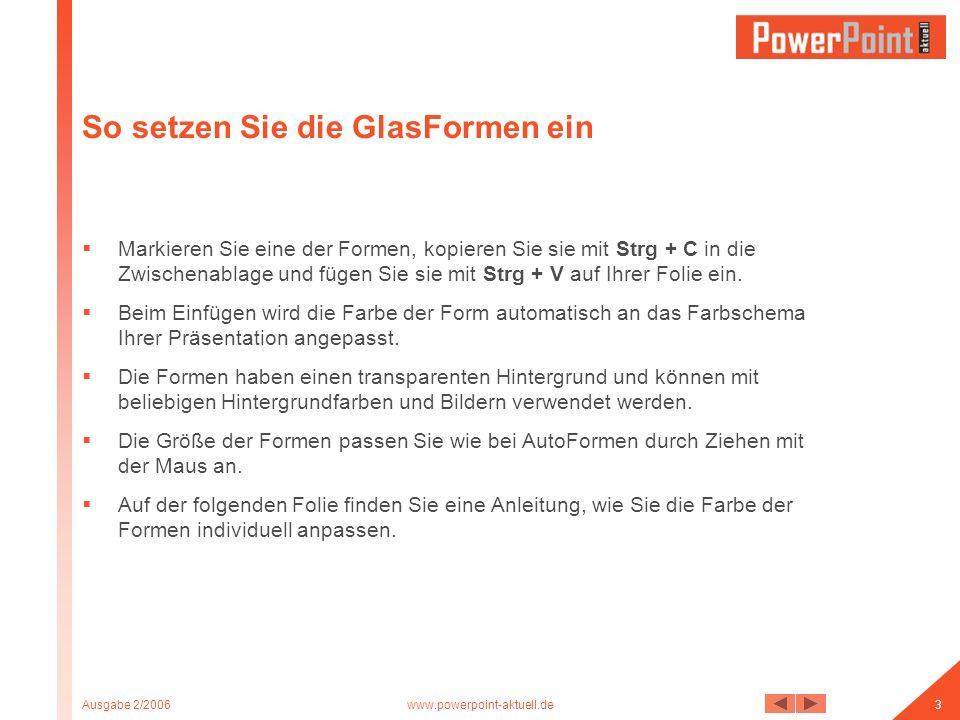 Ausgabe 2/2006www.powerpoint-aktuell.de4 Die Farbe der GlasFormen anpassen Klicken Sie zweimal (mit Verzögerung) auf eine Form, so dass diese eine doppelte Markierung zeigt.
