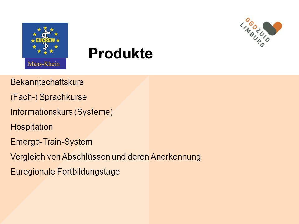 Bekanntschaftskurs (Fach-) Sprachkurse Informationskurs (Systeme) Hospitation Emergo-Train-System Vergleich von Abschlüssen und deren Anerkennung Euregionale Fortbildungstage Maas-Rhein Produkte