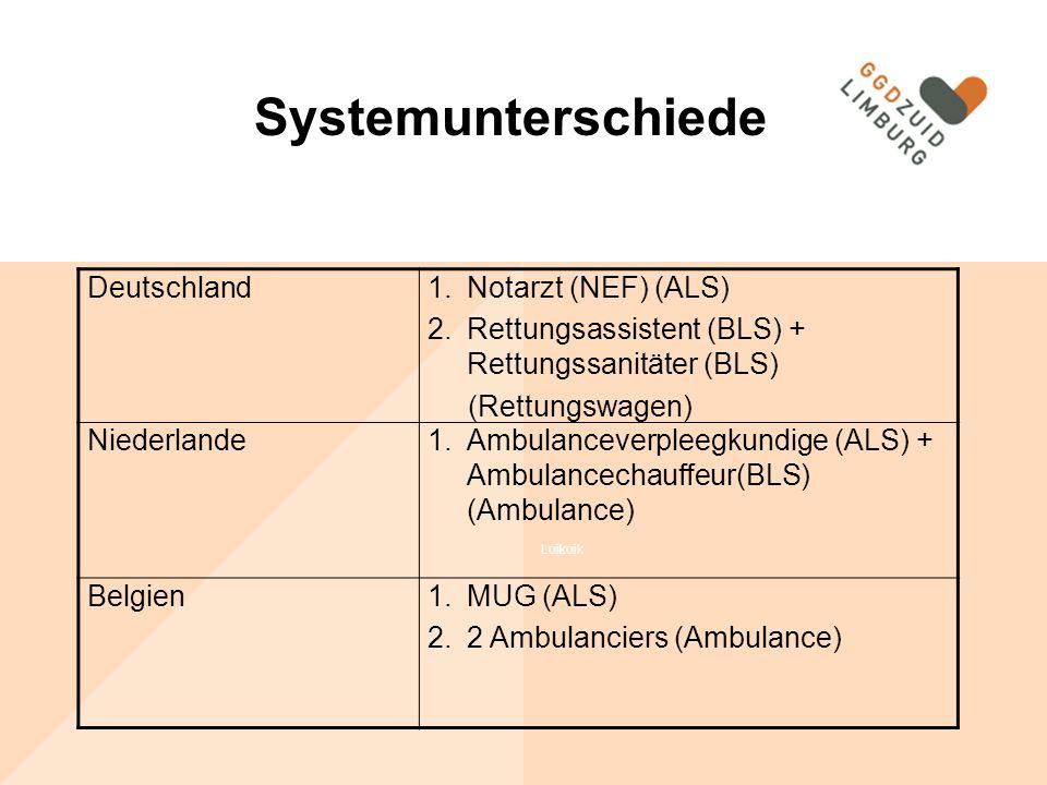 Luik Systemunterschiede Deutschland1.Notarzt (NEF) (ALS) 2.Rettungsassistent (BLS) + Rettungssanitäter (BLS) (Rettungswagen) Niederlande1.Ambulanceverpleegkundige (ALS) + Ambulancechauffeur(BLS) (Ambulance) Belgien1.MUG (ALS) 2.2 Ambulanciers (Ambulance) Systemunterschiede