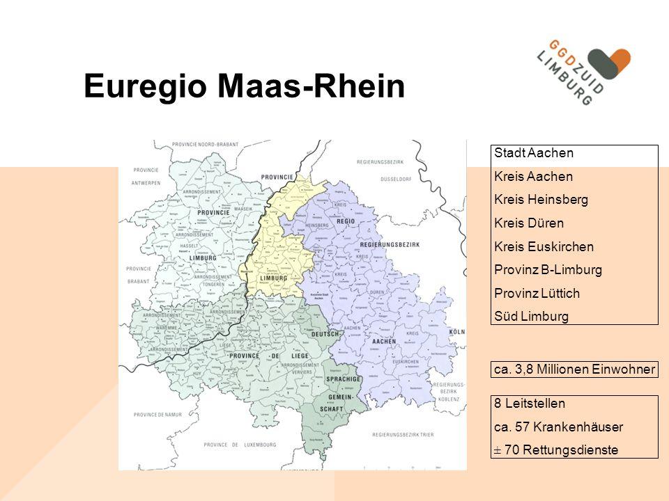 Euregio Maas-Rhein Stadt Aachen Kreis Aachen Kreis Heinsberg Kreis Düren Kreis Euskirchen Provinz B-Limburg Provinz Lüttich Süd Limburg ca.