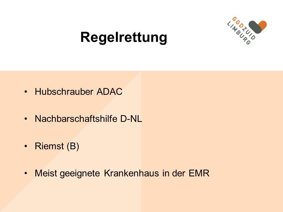 Regelrettung Hubschrauber ADAC Nachbarschaftshilfe D-NL Riemst (B) Meist geeignete Krankenhaus in der EMR