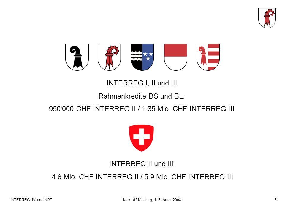 INTERREG IV und NRPKick-off-Meeting, 1.