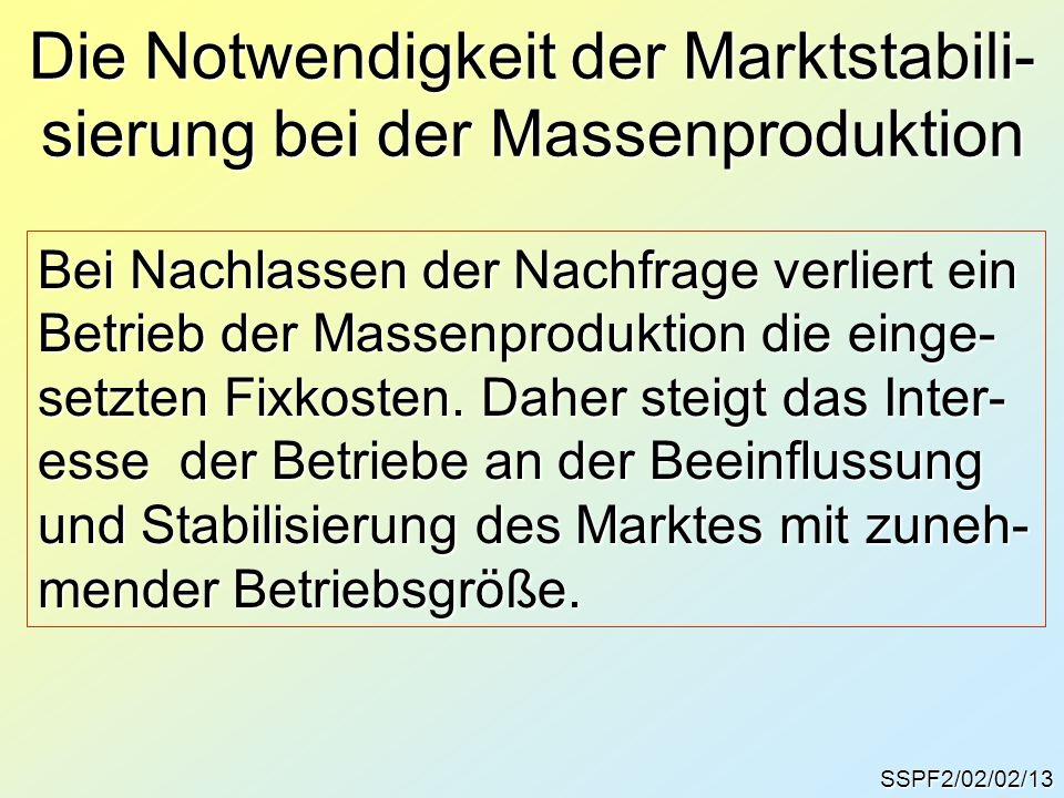 SSPF2/02/02/13 Die Notwendigkeit der Marktstabili- sierung bei der Massenproduktion Bei Nachlassen der Nachfrage verliert ein Betrieb der Massenproduk