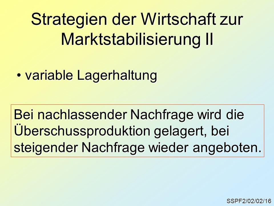 Strategien der Wirtschaft zur Marktstabilisierung II SSPF2/02/02/16 variable Lagerhaltung variable Lagerhaltung Bei nachlassender Nachfrage wird die Ü