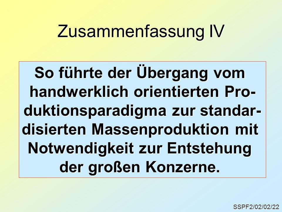 Zusammenfassung IV SSPF2/02/02/22 So führte der Übergang vom handwerklich orientierten Pro- duktionsparadigma zur standar- disierten Massenproduktion