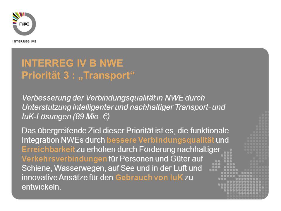 INTERREG IV B NWE Priorität 3 : Transport Verbesserung der Verbindungsqualität in NWE durch Unterstützung intelligenter und nachhaltiger Transport- und IuK-Lösungen (89 Mio.