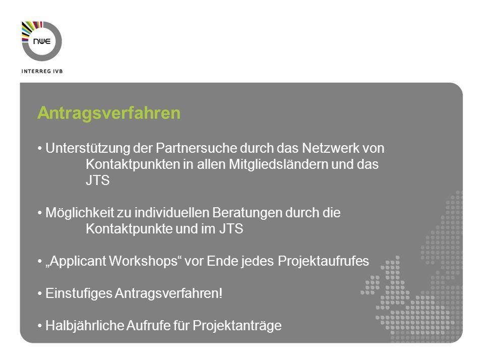 Antragsverfahren Unterstützung der Partnersuche durch das Netzwerk von Kontaktpunkten in allen Mitgliedsländern und das JTS Möglichkeit zu individuell