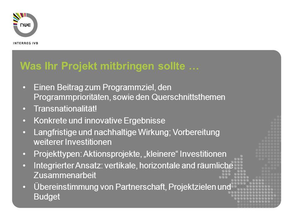 Einen Beitrag zum Programmziel, den Programmprioritäten, sowie den Querschnittsthemen Transnationalität! Konkrete und innovative Ergebnisse Langfristi